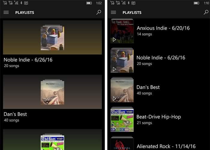 Groove Music Lists
