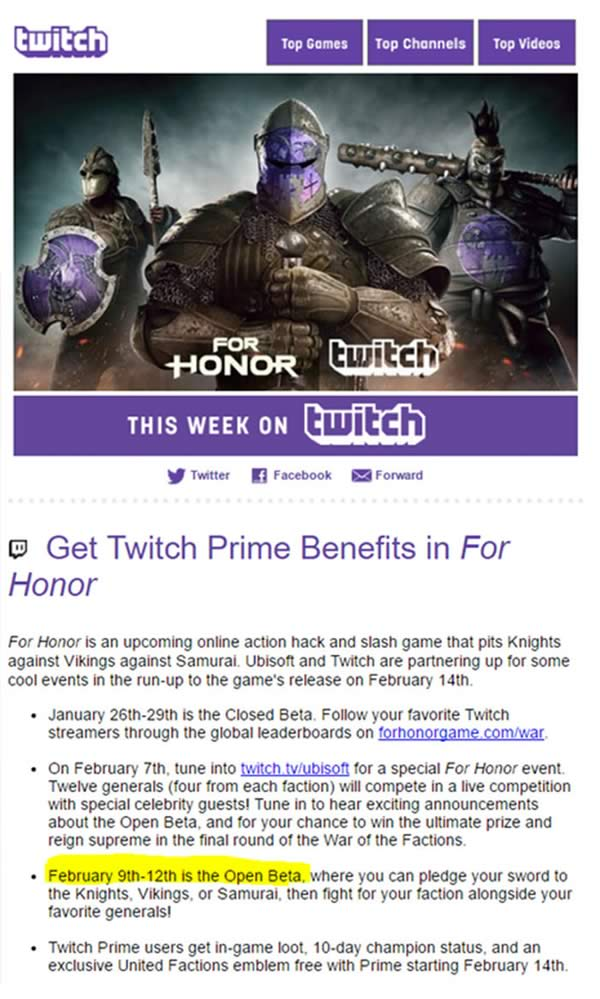 Twitch For Honor Email
