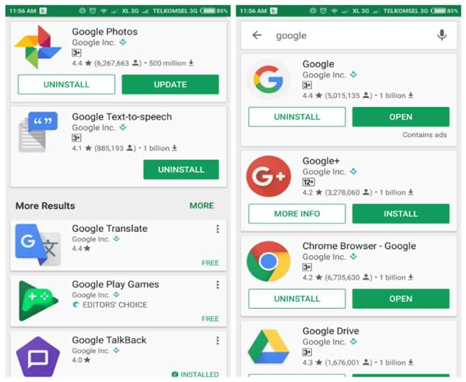 Google play search update