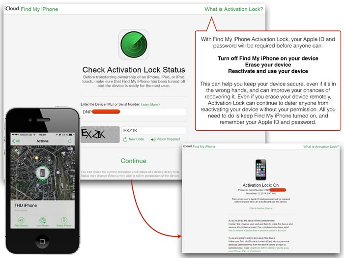 iCloud State of the Lock of Activation