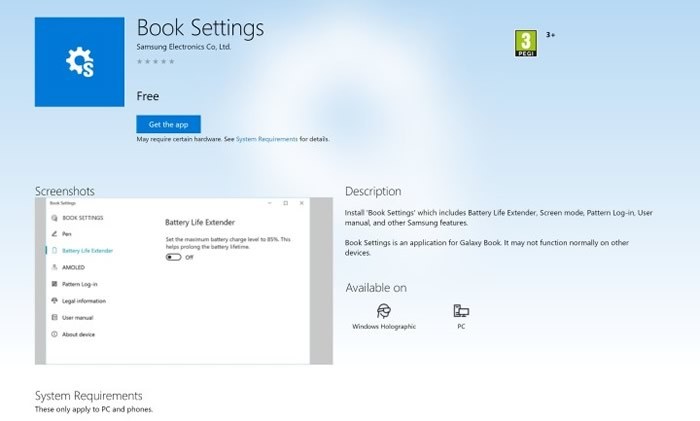 Samsung Galaxy Book Settings