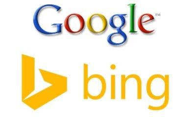 google and bing logos