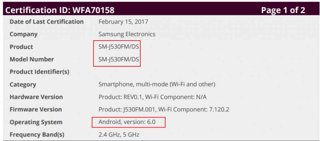 Samsung Galaxy J5 certification