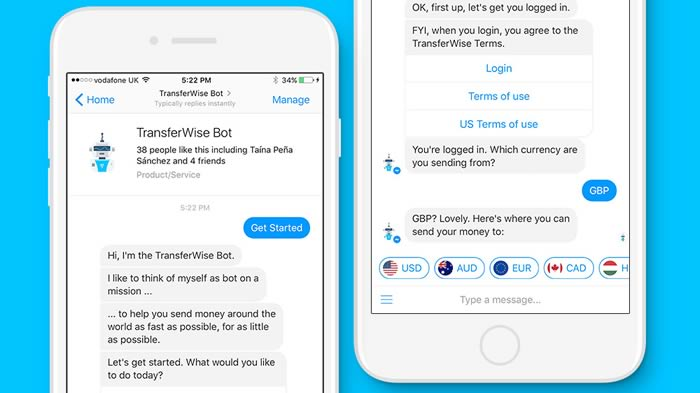TransferWise Facebbok bot