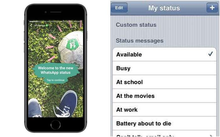 whatsapp new status feature