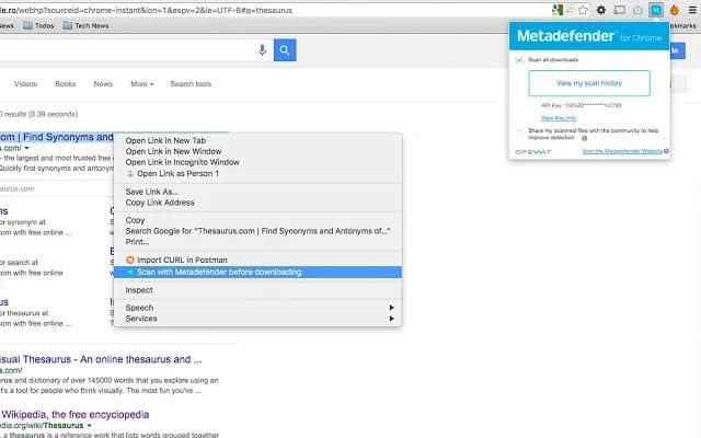 Metadefender Antimalware Google Chrome