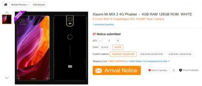Mi Mix 2 features