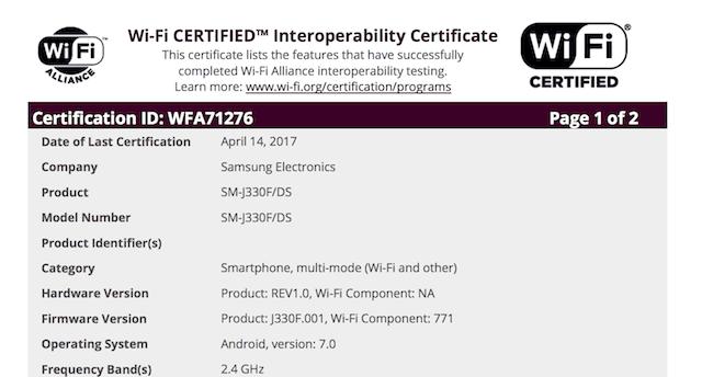 j3 2017 wifi certi
