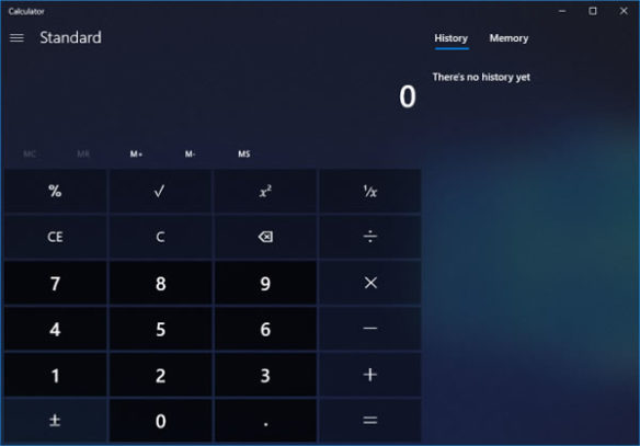 Calculator Windows 10 Fluent Design
