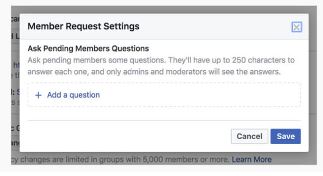 Facebook option to avoid spam