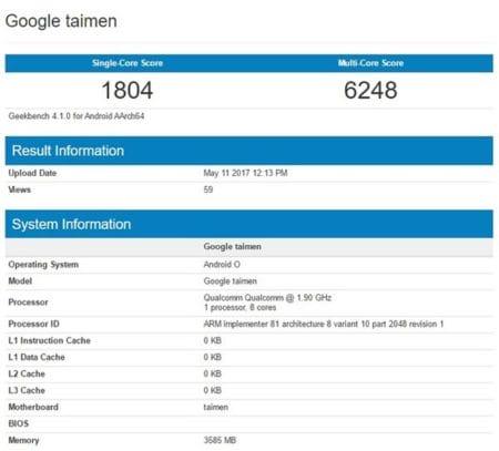 Google Pixel 2 features Geekbench