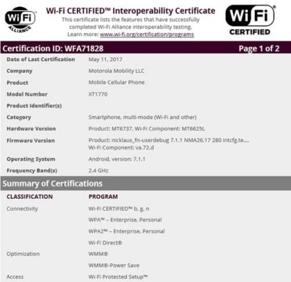 Moto Wifi certification