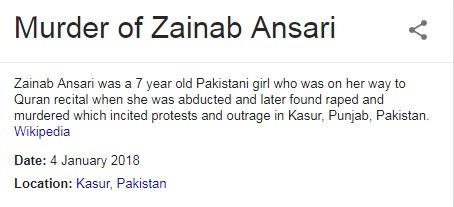 Murder case of zainab ansari