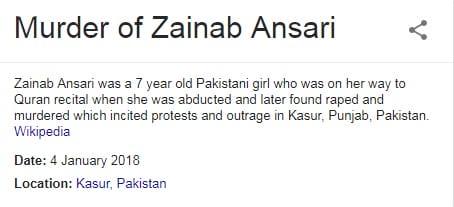 Murder case of zainab ansari
