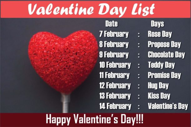 February Special Days List 2018 For Lovers Valentine Week