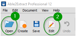 Open Able2Extract's Command toolbar
