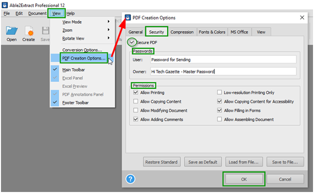 PDF Creation Option
