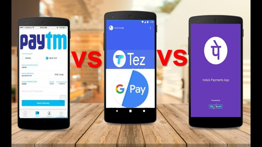 Paytm vs Tez vs Phonepe comparison