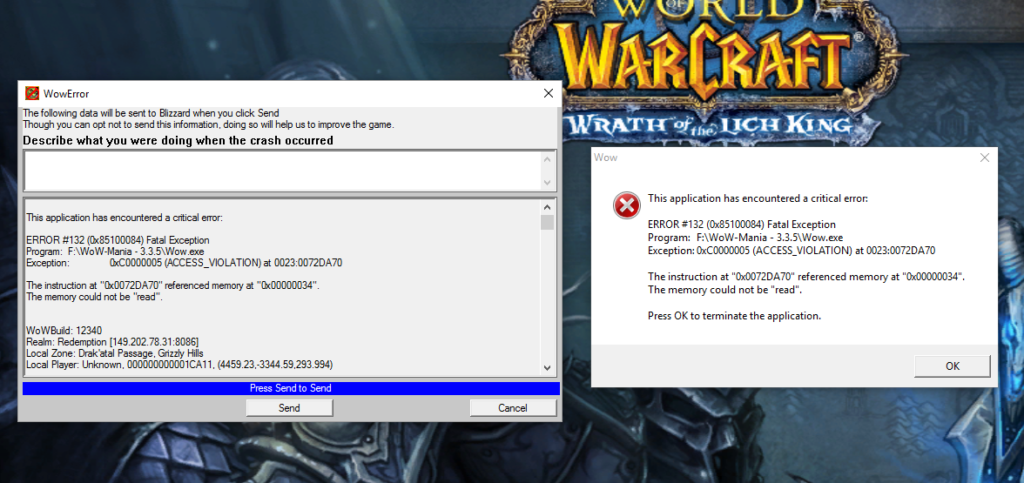 How to fix the WOW error 132?