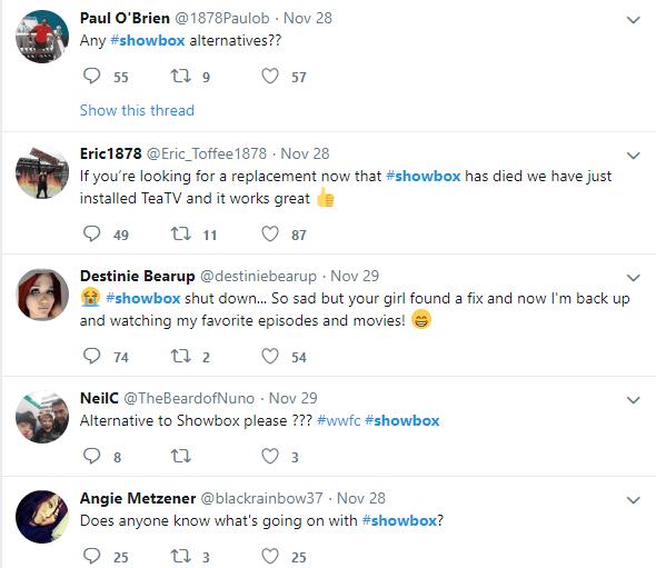 Twitter Talks about Showbox error (Solution) December 2018