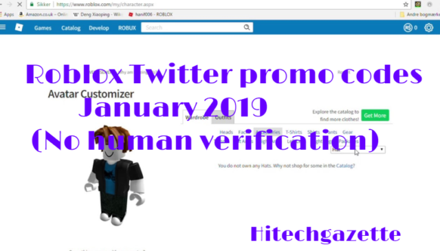 Roblox Twitter Promo Codes January 2019 No Human Verification Hi
