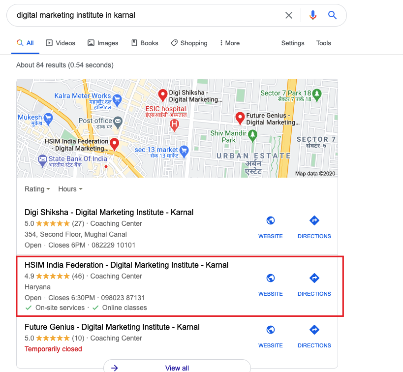 Example of local seo
